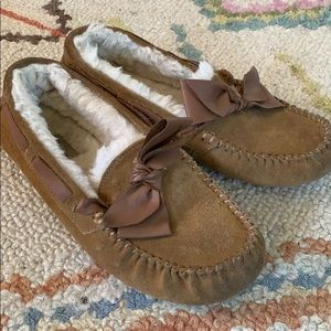 UGG Suede Moccasins with Faux Sheepskin Size 8